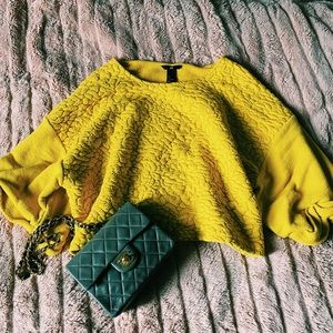 h&m • yellow bell sleeve quilted knit crop sweater